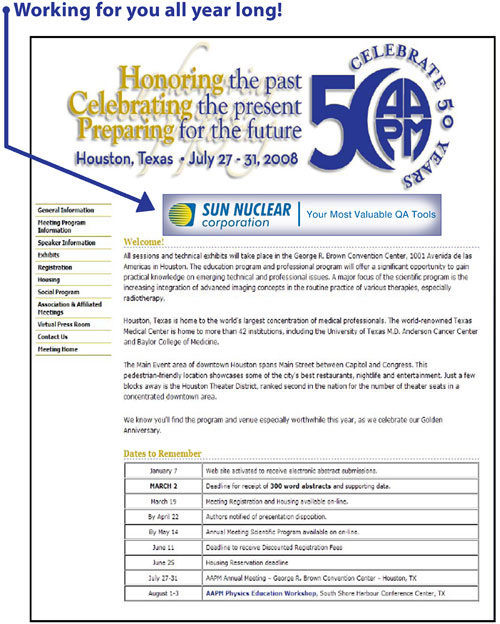 AAPM 50th Anniversary Banner Advertising